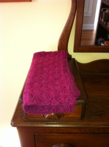 The shawl, demurely displayed on my dresser, all inviting and warm looking.