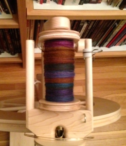Here's the BFL I've been spinning on the Lendrum. I'm really enjoying the color variations in this fiber.