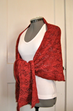 Red Shawl tied side
