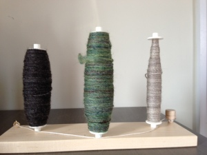 At left is the llama. Center is the sparkly green. At right are the further remains of the natural bi-color BFL.