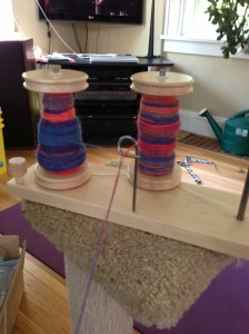 Singles from the long thick strip of roving on the left. Singles from the skinny strips on the right.