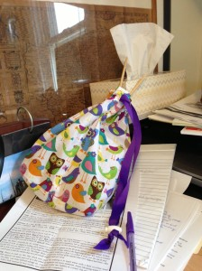 My conference call project bag. It currently holds a simple scarf that I am knitting from some of my hand spun yarn.