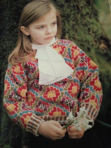 Ardagh Child's Sweater in Celtic Fretwork. Photo of page 47 of The Celtic Colelction.