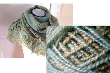 This Ishbel shawl was knitted from a finely spun polawarth/silk blend.