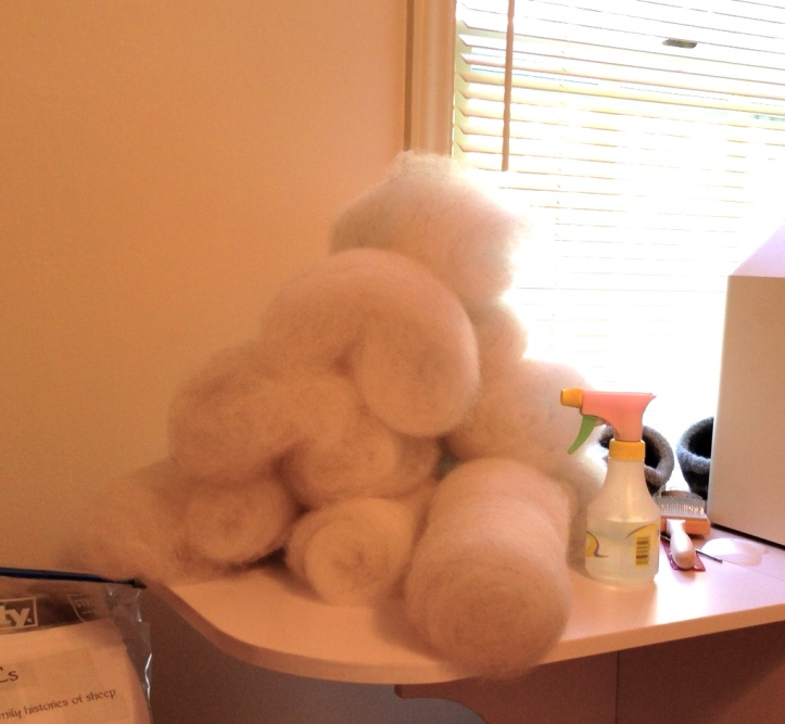 A small but growing mountain of batts.